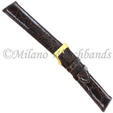 19mm Morellato Dark Brown Genuine Crocodile Padded Stitched Mens Watch Band