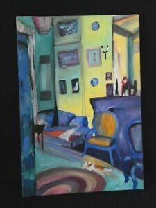 Tableau- huile sur toile contemporaine Scène d'intérieur