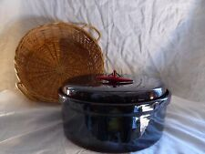Black Glass Pot and Bread Weaving Basket