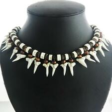 AWESOME UNISEX 21PC MAKO SHARK TOOTH SURFER BONE BROWN HEISHI BEADS necklace