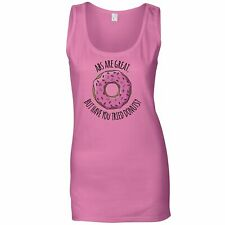 Joke Ladies Vest Abs Are Great But Have You Tried Donuts? Food Gym Funny Gift