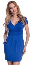Glamour Empire. Women's Wrap V-neck Jersey Pencil Dress With Pockets M-2xl. 806 Royal Blue UK 16
