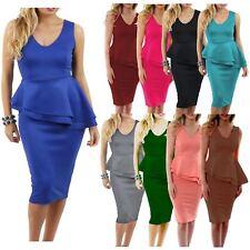Ladies Waist Side Slant Peplum Frill Pencil Bodycon Sleeveless Midi Dress 8-26