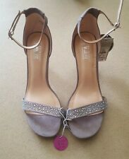 Primark Women's Grey Thin Strap Open Toe Sandal High Heel Shoes Size Uk 5