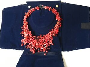 Classic Coral and Bead necklace with Buffalo Horn clasp with blue velvet case