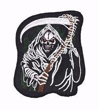 Grim Reaper Scythe Embroidered Patch Iron On Gothic Skeleton Skull Biker Punk