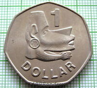 SOLOMON ISLANDS ELIZABETH II 1977 DOLLAR, NUSU-NUSU HEAD - SEA SPIRIT, UNC