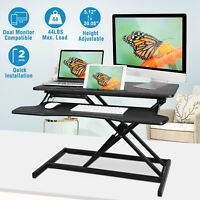 Height Adjustable Standing Desk Dual Monitor Riser Sit to Stand Workstation USA