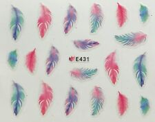 Nail Art 3D Decal Stickers Pastel Feathers Pink Blue & Green E431
