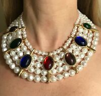 HUGE MOGUL RUBY SAPPHIRE EMERALD CABOCHON PEARL HEAVY COLLAR STATEMENT NECKLACE