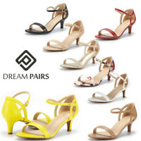 DREAM PAIRS Women's Low Stilettos Heel Sandals Ankle Strap Work Dress Shoes Size