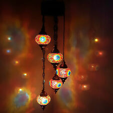 Turkish Moroccan Tiffany Style Glass Mosaic Chandelier 5 Bulb - UK SUPPLIER