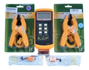 Dual Channel K Type Digital Thermocouple Thermometer 6802 II, 2 Pipe Clamp, HVAC