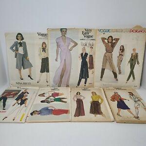 Lot Of 7 SZ 10 Vintage Vogue Sewing Patterns Nina Ricci Edith Head Calvin Klein