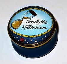 Halcyon Days Enamel Box - Nearly The Millennium - Hourglass & Champagne Bottle