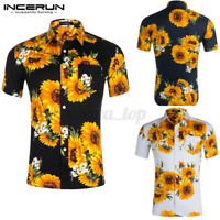 Men's Sunflower Slim Fit Shirt Short Sleeve Formal Casual Tops T Shirts Blouse