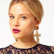 Hot Fashion Gold Plated Jewelry Cross Rivet Rhinestone Stud Drop Dangle Earrings