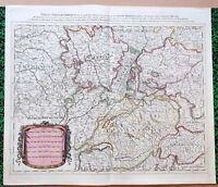 XVII ème - Lorraine Franche Comté Bourgogne Carte par Sanson 61 x 52 Editée 1695