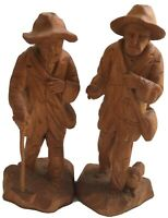 """Vintage Folk Art Hand Carved Wood Hoboes Very Detailed 6"""" Tall"""