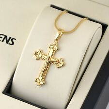 "24K Yellow Gold Filled Jesus Cross Pendant Necklace 18"" Chain Hot Link Jewelry"