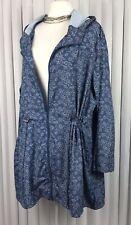 Yours Size 30 Plus Rain Coat Parka Jacket Blue Ditsy Flower Drawstring Toggles