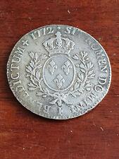 France Louis XV Argent Ecu à la vieille tête 1772 I TTB