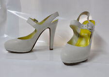 "Michel Perry white leather Mary-Jane style hi-heel pump - Size EU41, 5.25"" heel"