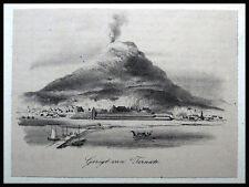Ternate - INDONESIEN - Vulkan Gamalama. Originale Lithographie 1850