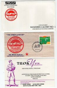 Canada AB Alberta - Kananaskis 1983 Scout Jamboree - WOODEN Postcard FDC -