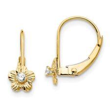 Kids 14k Yellow Gold & CZ 5mm Flower Lever Back Earrings