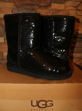 NIB UGG AUSTRALIA Women's Classic Short SEQUIN SPARKLE Boots BLACK US 11 EU 42