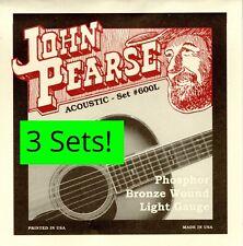 3 Sets! John Pearse 600 600L Acoustic Guitar Strings Phosphor Bronze .012-.053W