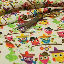 Velour Velvet Texture Upholstery Material Fabric Colourful Owls Animal Pattern