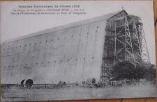 1912 French Aviation Airship/Dirigible/Blimp Postcard: Hangar, Adjudant Reau