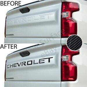 Tailgate Decal Inserts Letters Fits Chevy Silverado 2019 2020 Gloss Carbon Fiber