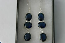 Beautiful Silver Earrings With Faceted Blue Sapphire 7.1 Gr.4.5 Cm.Long + Hook
