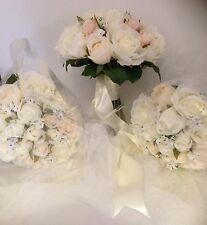IVORY WHITE PINK JIP PEARL VINTAGE 10 PCE WEDDING ROSE BOUQUET ARTIFICAL  FLOWER