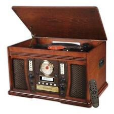 New listing 7-in-1 Bluetooth Wooden Aviator Music Center Am/Fm Radio Retro Style Home Audio