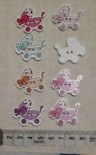 9 Wooden Buttons Baby Pram shaped.  mixed colours 30 mm x 27 mm  2 holes flat