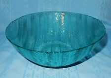 "1 Arcoroc France Jardiniere Teal Aqua Herringbone 8 7/8"" Serving Salad Bowl Dish"