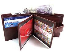 Hombre Calidad Premium Marrón Piel Auténtica Funda Tarjetas de crédito ID FOTO