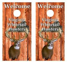 Welcome Virginia Whitetail Deer Hunters Cornhole Board Decal Wrap w/Squeegee