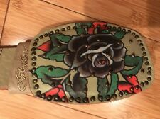 BRAND NEW ED HARDY CAMEL LEATHER BELT RED ROSES TATOO BUCKLE STUDS SIZE S