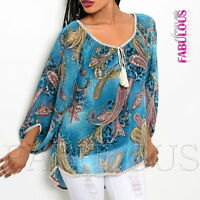 New Sexy Womens Sheer 3/4 Long Sleeve Top Blouse Shirt Print Size 8 10 12 S M L