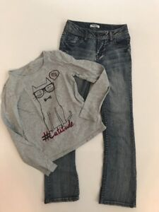 MUDD Girls Dark Wash Faded Blue Jeans Size 10S and Cat Graphic T Shirt 10/12