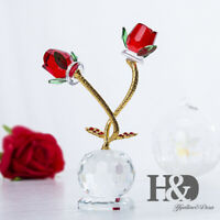 Crystal Rose Figurines Cut Glass Ornaments Paperweight Gift Wedding Home Decor