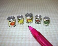 """Miniature Set of 5 """"Marvel"""" Brand Canned Fruits and Vegetables: DOLLHOUSE: 1/12"""