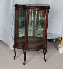 Antique Oak Small Curio China Cabinet – original finish - Cabriole Legs - Smooth