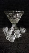 STUNNING Vintage Star of David Crystal Glass Punch Bowl Set with 9 cups & Ladle