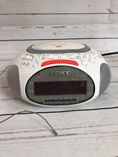 Sony Psyc icf-cd832 AM FM CD player Dual Alarm Clock Radio Tested Works A1